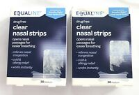 Set Of 2 Equaline Drug Free Clear Nasal Strips Medium >new< 60 Total Strips