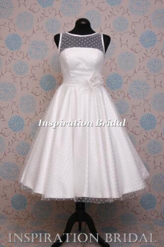 1586 court robes de mariée thé longueur genou jupe polka dot tulle satin bord