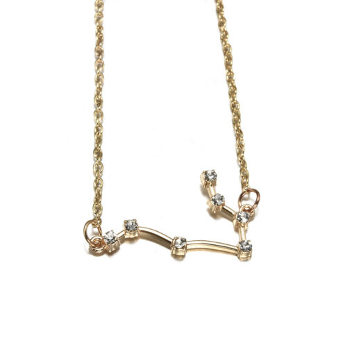 Horoscope Astrology Pendent Zodiac Constellation Necklace 925 Silver Gold NEW