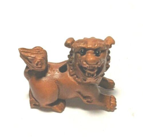 Foo Dog  Boxwood  Ojime Bead Hand Carved  Japanese  Miniature Figurine 1390 inro