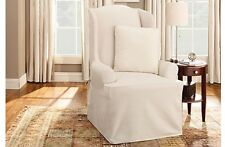 EUC Sure Fit Cotton Duck Wing Chair Slipcover Natural Color Wingback