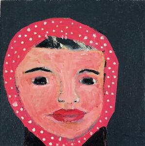 Original Portrait Painting Wall Art, Girl Bandana Polka Dots Katie Jeanne Wood