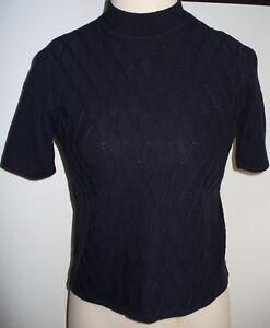 Koret M Dark Navy Blue Short Sleeve Mock Neck Sweater Diamond
