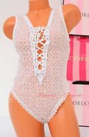 Vs Victoria's Secret Lingerie All-over Lace Laced-up Teddy Thong S Small White