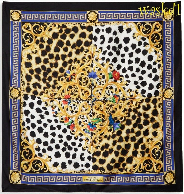 """VERSACE COLLECTION blue Greek border Leo Spots FLORAL silk 35/"""" scarf NWT Authent"""