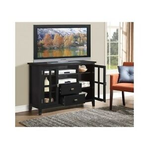 Details about Tall TV Stand Black Bedroom Wooden 60\