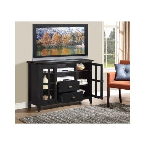 Tall TV Stand Black Bedroom Wooden 60\