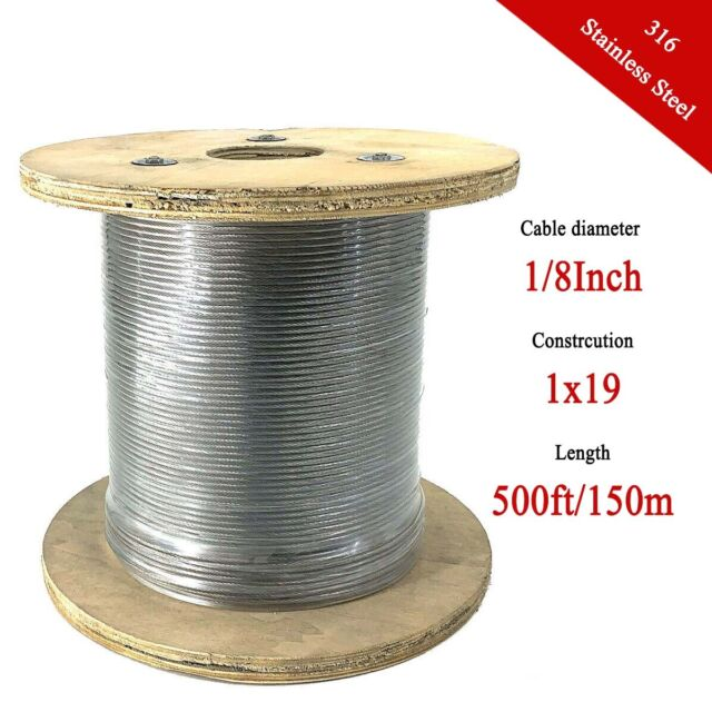 """500FT Aircraft Cable T316 1//8/"""" 1x19 Stainless Steel Cable Wire Rope"""