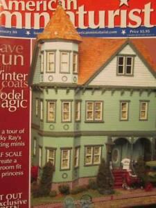 American-Miniaturist-January-2004-Magazine-Round-Table-Coat-Gift-Bags-Ski-Lodge
