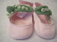 Infant Knit Crib Shoes Or Booties Knit Mary Jane Style - 3 Peas In A Pod 3-6m