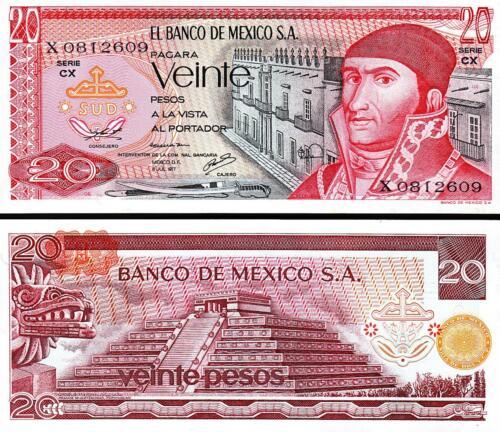 Unc P-64 Morelos Mexico 20 Pesos 1977 Au