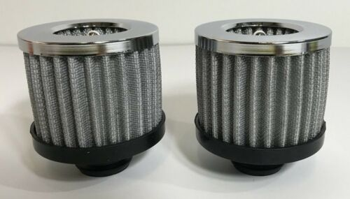 """Pair SBC 1-1//4/"""" Hole 2 Push In Washable Filter Chrome Valve Cover Breathers"""