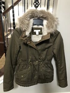 0c56f1ddf16 Details about H&M Size 2 Pile Lined Parka Olive Coat Jacket Hooded  removable faux fur trim