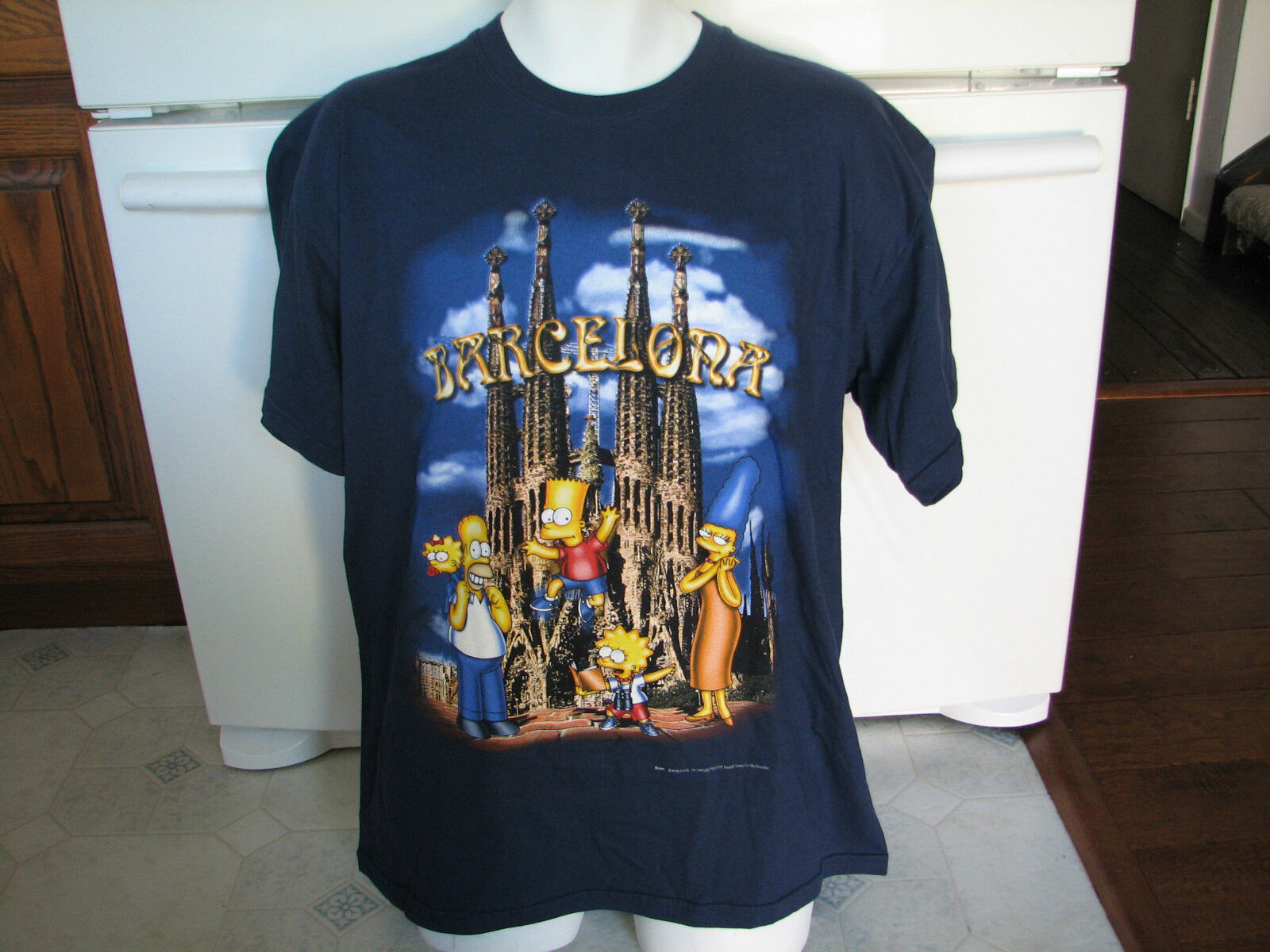 The Simpsons Barcelona Spain t shirt Very Rare made in Spain 1999 vintage