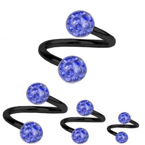 Spiral Twist Piercing Black Titanium 1,6 mm Multi Crystal Ball Sapphire Blue