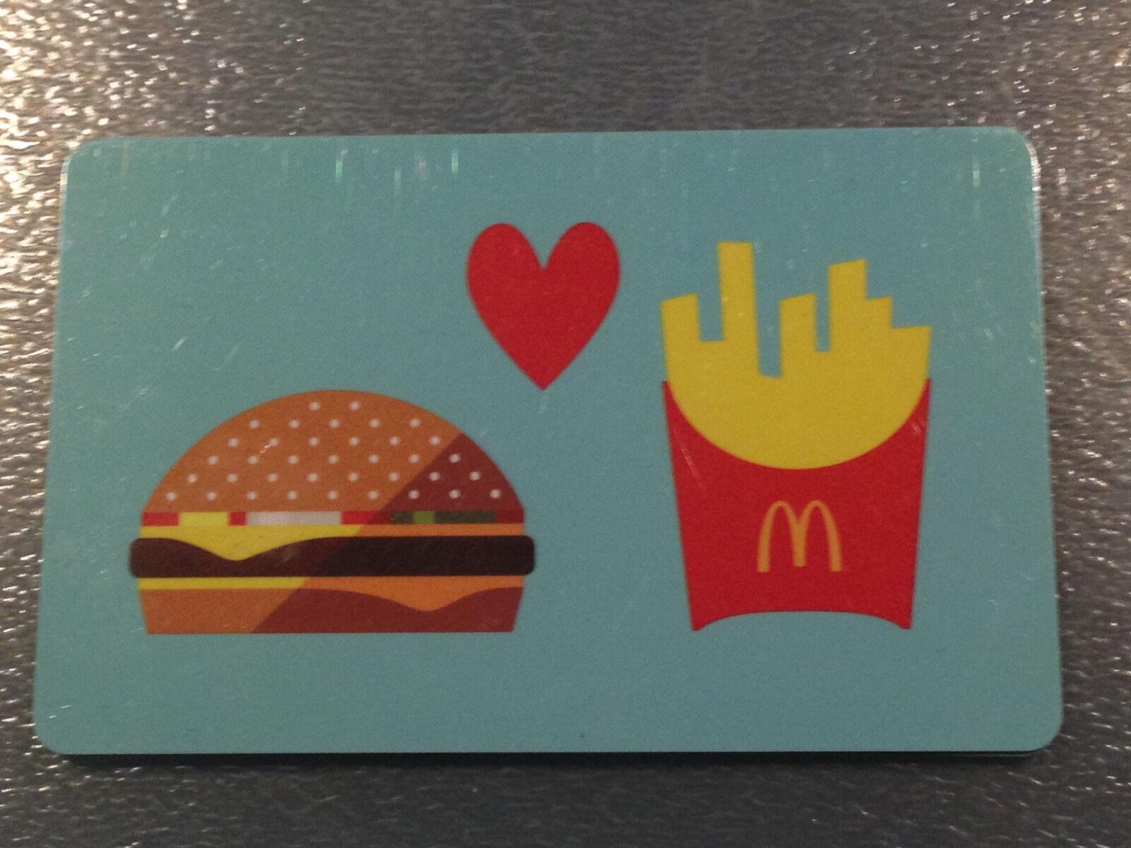 $0 MCDONALD/'S Hamburger Loves French Fries 2015 Gift Card