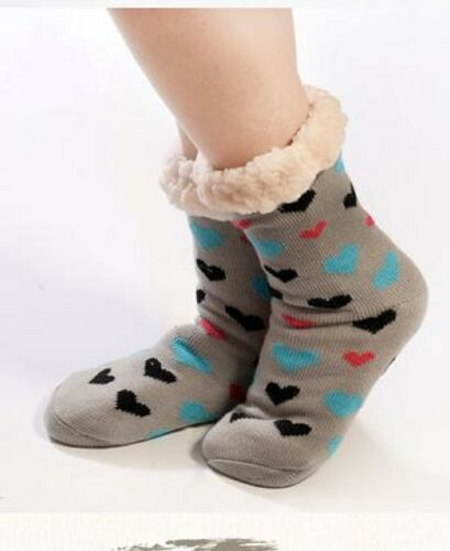 Ladies Hearts Snuggle Toes Fur Lining Thermal Socks Thick Cosy Warm Winter UK