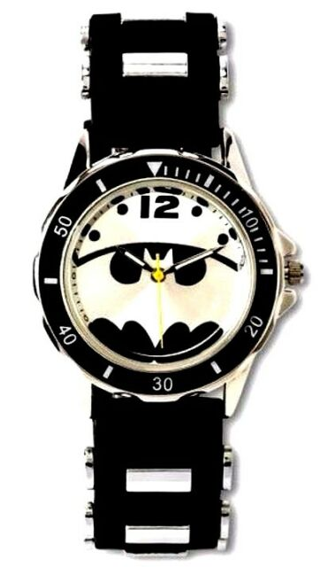 DC Comics Batman Super Hero Black Silver Analog Wristwatch Watch Yellow Second H