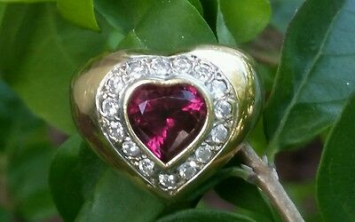 Vintage 14k Yellow Gold Rhodolite Garnet Diamond Heart Band Ring Estate  8.7 gm