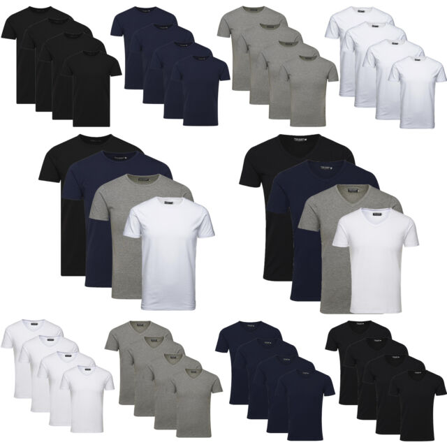JACK JONES Herren T-Shirt Basic 4er PACK Marken O V Neck Tee Männer S M L XL XXL