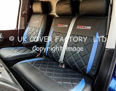 BLUE LEATHERETTE BENTLEY DIAMOND BLACK VW CRAFTER VAN 2012 SEAT COVERS