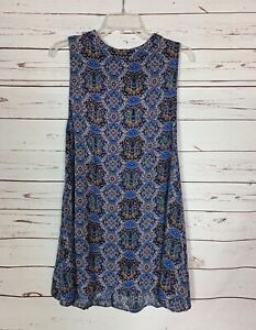 Umgee-USA-Boutique-Women-039-s-S-Small-Blue-Sleeveless-Boho-Summer-Tunic-Top-Tank