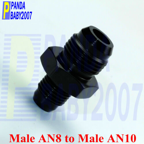 MALE AN8-8 8AN TO 10 AN10 ALUMINUM FUEL HOSE FITTING TANK GAS LINE ADAPTER BK