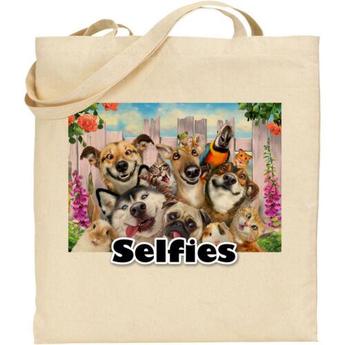 Pets//Fence  H Robinson Fun Selfie Image Reusable Cotton Shopping//Tote//Beach Bag