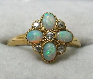 Gorgeous Victorian 18 carat Gold Opal & Diamond Ring Fantastic Opals Size N.1/2