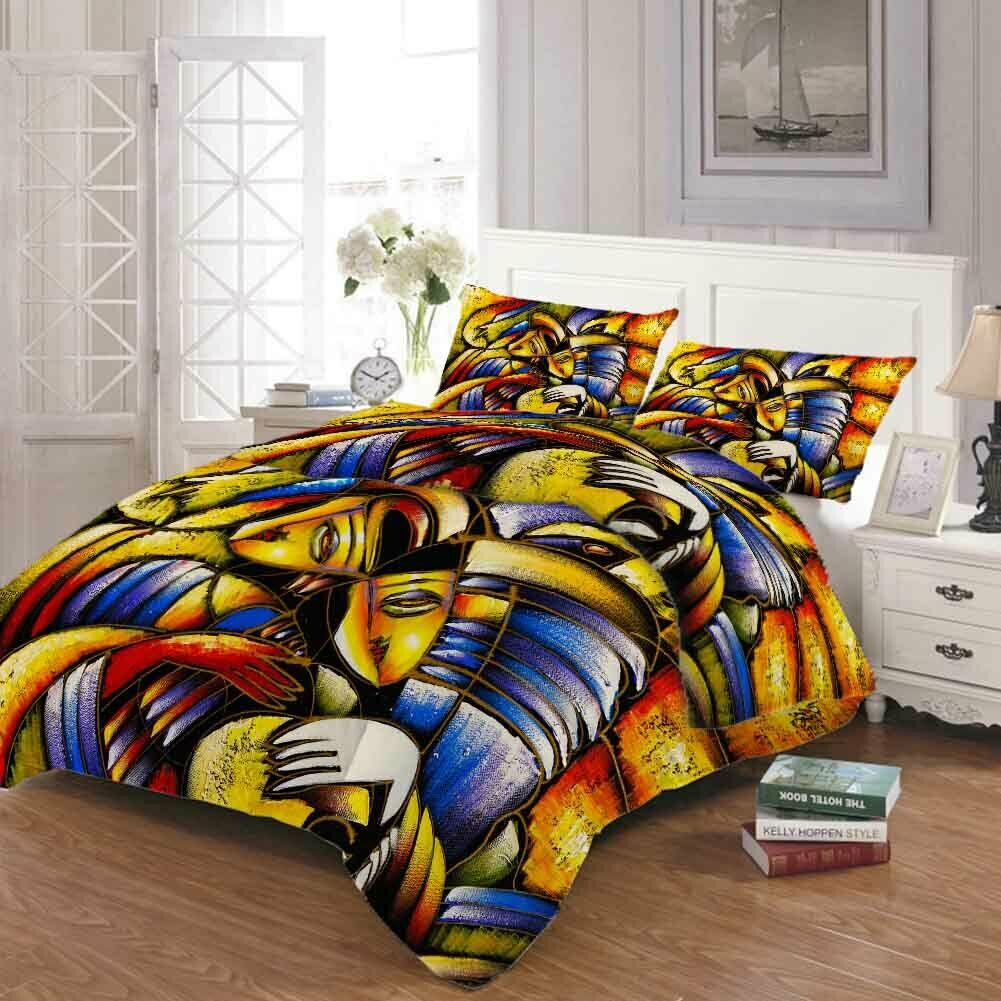 Bright Fish Mouth 3D Druckening Duvet Quilt Will Startseites Pillow Case Bettding Sets