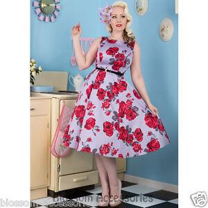 RKL9-Lady-Vintage-Hepburn-Red-Rose-Floral-50s-Swing-Retro-Rockabilly-Dress