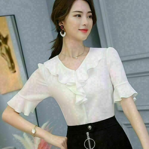 Top Women Ladies Blouse T-Shirt Shirt Chiffon Short Sleeve Summer Loose Fashion
