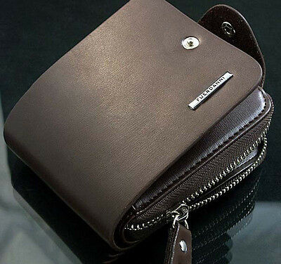 Men/'S Zip Bifold Wallet Compact Pu Leather Purse Short Style With Id Window