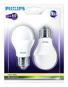 2-x-Bombillas-LED-Philips-Eficiencia-A-60W-Bajo-Consumo-Casquillo-E27-Luz-Blanca