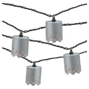 Details About Threshold 10 Lights String Silver Metal Decorative Cut Round Cylinder Rv New