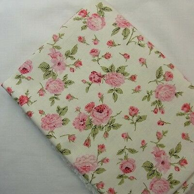Linen Cotton blend Fabric Floral Shabby Chic Mint green Ivory Craft 48 x 45cm