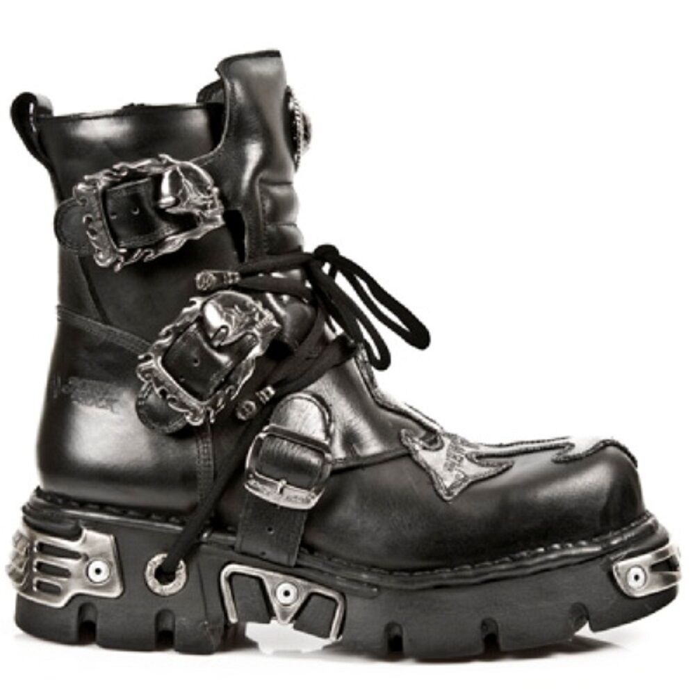 New Rock Unisex Leather Biker Stiefel Reactor Gothic Ankle High - M.407 S1