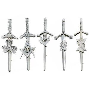 "Scottish Highland Sword Kilt Pin Masonic Jet Black Finish High Quality 4.5/"" Long"
