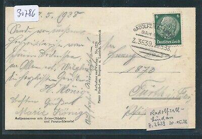 30786) Bahnpost Ovalstempel Radolfzell - Lindau Z.3639, Karte 1938 Weich Und Rutschhemmend