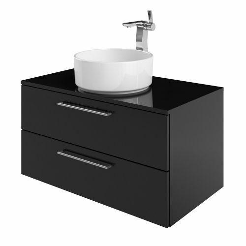 £ 599 Waterside 900 Negro Brillante Pared colgado lavabo unidad incluso encimeraPVP