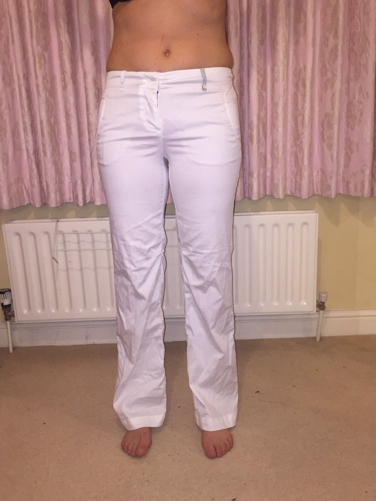 Ladies White Cotton Trousers Marccain No 2 10 12 Italian Designer