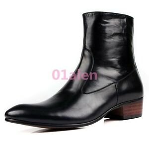 Vintage-Men-039-s-Ankle-Boots-Real-leather-Zip-Formal-Shoes-Pointy-Toe-Black-Brown
