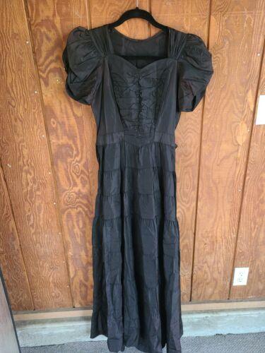 Vintage 1930s Black Ruffle Dress, ruffle skirt , r