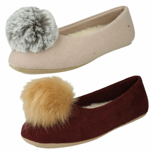 LADIES CLARKS COZILY WARM FAUX FUR POM POM SLIP ON INDOOR BALLET SLIPPERS SHOES