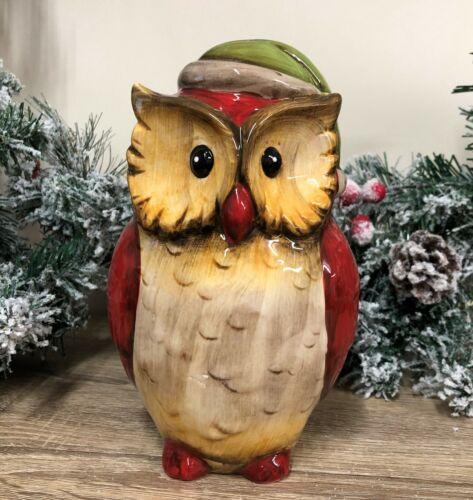 Green Xmas Hats Red Ceramic Santa Owl Christmas Bird Ornament Decoration