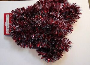 Ft red silver foil tinsel garland valentines day christmas