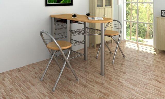 vidaXL Küchenbar mit 2 Stühlen Küchentisch Bistro Tisch Holz Küchenmöbel
