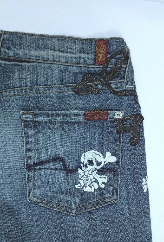 7 FAM Seven for all mankind Womens Great Wall Leather Skull Boot Cut Jeans 26
