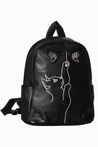 Women/'s Black Kitty Cat Bow Retro Rockabilly Vintage Dixie Bag By Banned Apparel