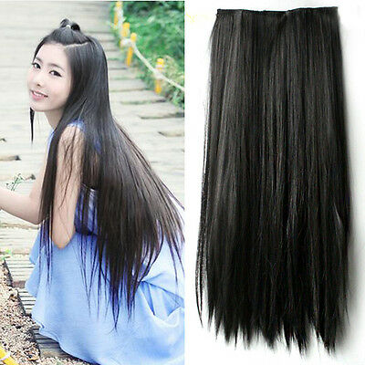 Women Long Straight Hair One Piece 5 Clips in Hair Extensions Full Head Top